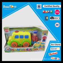 Cartoon car with driver toy free wheel mini bus toy