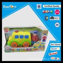 Carro dos desenhos animados com brinquedo do excitador brinquedo livre do mini barramento da roda