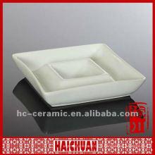 Assiette en céramique et plaque à immersion, puce en céramique et ensemble de trempette