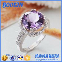 Anillo de bodas de plata de ley 925 de alta calidad con cristal púrpura