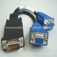 VGA para DVI Splitter cabos 2 VGA fêmea e um conector macho de 59 pinos