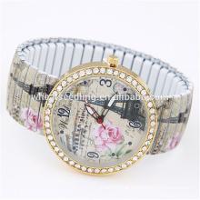 Yiwu fornecedor scrawl casual flor elástica contas mais recentes design senhoras fantasia relógios
