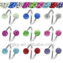 Multi Gem Spiral Eyebrow Labret Piercing Nipple Navel Jewelry