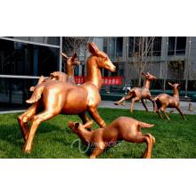 ciervo madre e hijo escultura de bronce