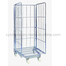 Armazenamento de 3 lados dobrável de arame metálico Gabion Roll Cage Container