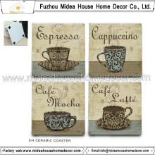 Práctico de costa de café de cerámica en blanco de la alta calidad para la aduana