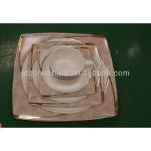 square shape gold European Asian fine bone china newly arrived ceramic plate promotion christmas gift