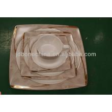 square shape gold European Asian fine bone china newly arrived ceramic plate promotion christmas gift
