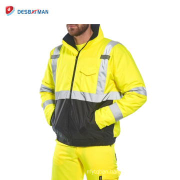 Hi-Vis Contrast Waterproof Rain Wind Traffic Jacket Coat Mens Reflective Tape Safety Hooded Workwear