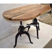 Indusrial Dual Crank Base Dining Table Rough Mango Wood Oval Top