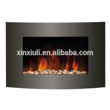 curved and pebble wall decorative fireplace