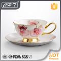 Xícara fina de porcelana copo de chá decorativo por atacado e pires conjunto