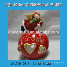 New arrival ceramic christmas ornaments with led,ceramic angel figurine