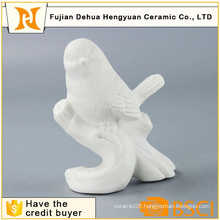 Decorative Glazed White Ceramic Bird Craft