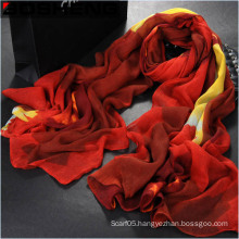Fashion Beautiful Women Red Printed Long Cotton Scarf