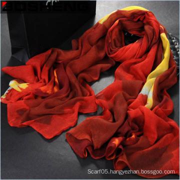 Fashion Beautiful Women Red Printed Long Cotton Scarf