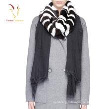 Зима теплая шерстяной шарф с мехом настроить