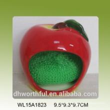 Handmade decorative fruit shaped ceramic kitchen sponge holder
