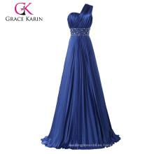Grace Karin un hombro largo vestido de noche mujeres azul marino vestido de baile CL6021
