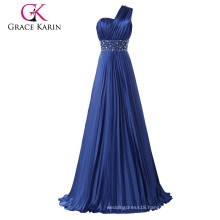 Grace Karin One Shoulder Long Evening Dress Women Navy Blue Prom Dress CL6021