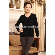 simple V neck women's 100% cashmere sweater