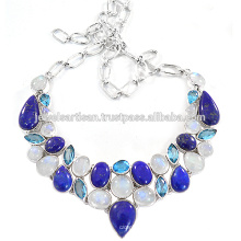 Lapis And Multi Gemstone 925 Sterling Silver Necklace Jewelry
