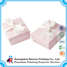Wholesale Printed Foldable Recycled Coated Paper Pink Gift Boxes with Ribbon