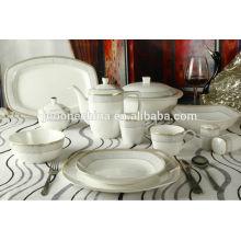 Nuevo año 2014 nueva línea de oro de oro de la flor de la porcelana del diseño elegante cuchillería fina de China del hueso fijada