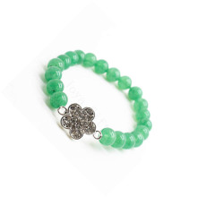 Green Aventurine Gemstone Bracelet with Diamante alloy Flower Piece