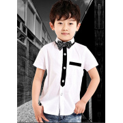 Boy's white short sleeve shirt with bow tie