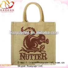 Fashion design printing jute gunny bag cheap jute bag