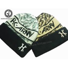 Chapéu de malha de inverno de acrílico Jacquard de malha personalizado personalizado