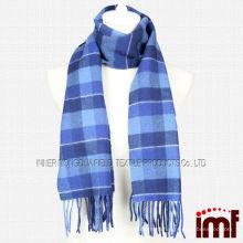 Оптовый мужской шотландка с голубым 100% шерстяным шарфом для зимы