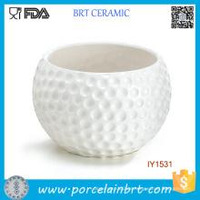 Kreativer Golfball-hoher weißer keramischer Blumen-Topf