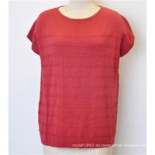 Casual manga corta cuello redondo Knit mujeres de punto