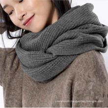 fashion women wool cashmere blended knitted loop scarf