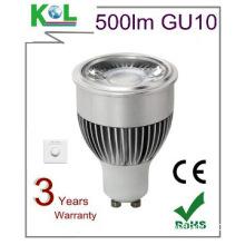 8W COB LED GU10 Light Lamp 500lm 3000k, CRI82-86