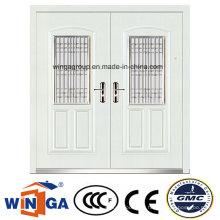 Entrée décorative en acier blanc Porte métallique de sécurité en acier (W-SZ-03)