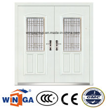 White Color Decorative Entrance Steel Security Metal Door (W-SZ-03)