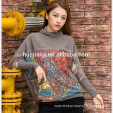 impressão digital de boné de tamanho grande de caxemira feminina