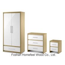 Высокий глянцевый 2-дверный комбинированный шкаф для спальни (BD21)
