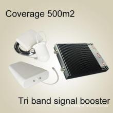 2g3g4g Reforzador de señal, 900 2100 2600MHz UHF Amplificador de banda tri RF Repetidor Repetidor de señal RF de alta calidad Booster