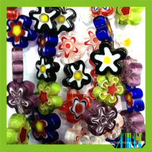 wholesale loose millefiori flat flower crystal glass beads