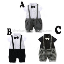 2016 nouveau design bébé garçon barboteuse été à manches courtes coton gentleman bébé barboteuse en gros