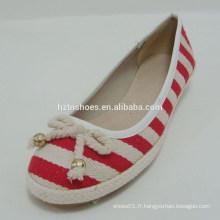 Tissu en coton rouge et Khaki Femmes Classiques Chaussures Chaussures bon marché avec bowknot