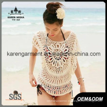 Bat Sleeve Handmade Crochet Beachwear traje de baño encubrir