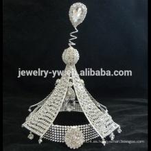 Accesorios al por mayor del pelo corona llena cristalina de la tiara del desfile grande para las muchachas
