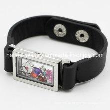 Mode Edelstahl Leder Armband mit Locket