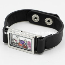 Fashion Stainless Steel Leather Bracelet with Locket
