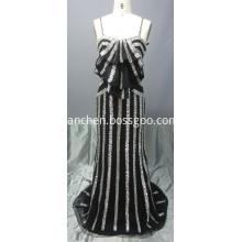 Floor Length Spaghetti Strap Sequin Prom Dress